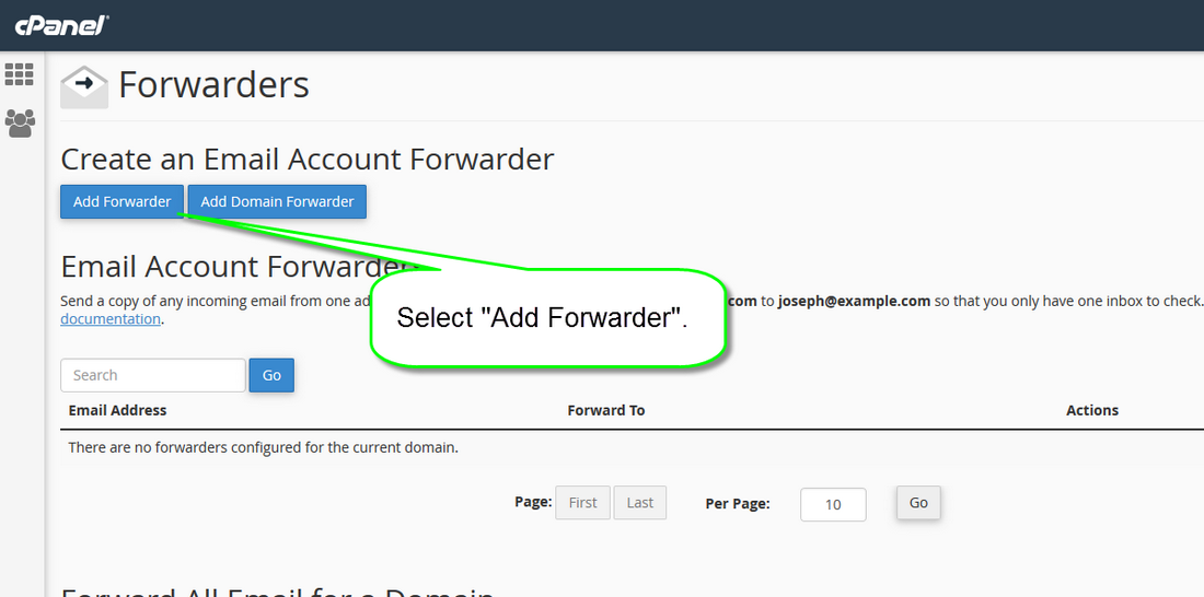 Email forwarder step 2